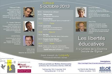 Colloque : «Les libertés éducatives, à la lumière de la doctrine sociale de l'Eglise», à Nantes, le 5 octobre