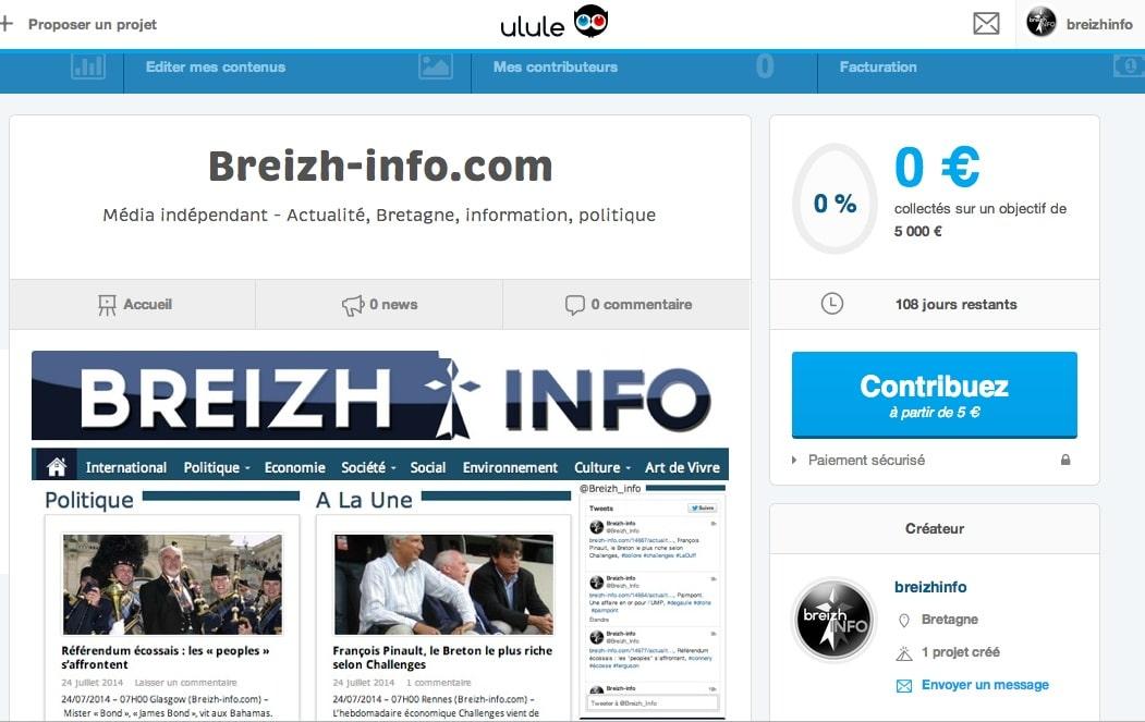Aidez Breizh-info via Ulule, le numéro un du financement participatif