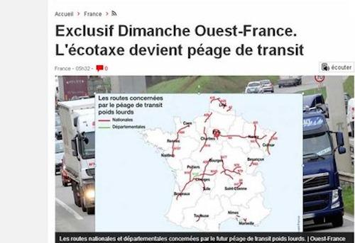 Ecotaxe : la Bretagne concernée par la taxe de transit