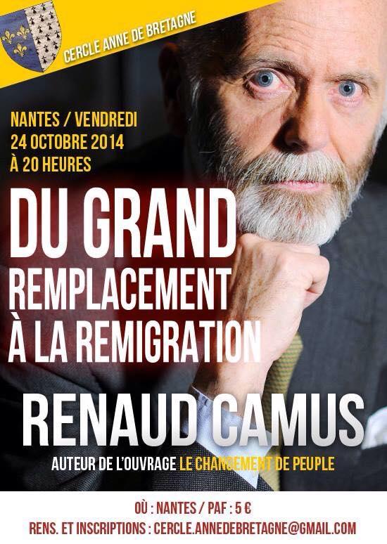 Nantes. Renaud Camus en conférence le vendredi 24 octobre