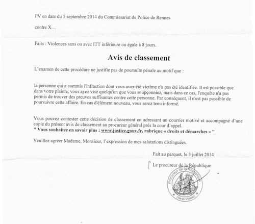 Avis de classement agression 05.02.2014 BreizhInfo