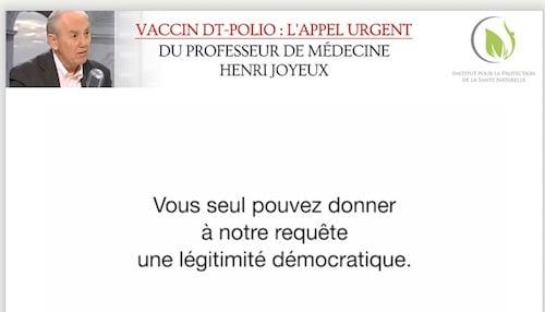 Vaccins DTP. Le professeur Henri Joyeux dénonce le scandale d'Etat.  [video]
