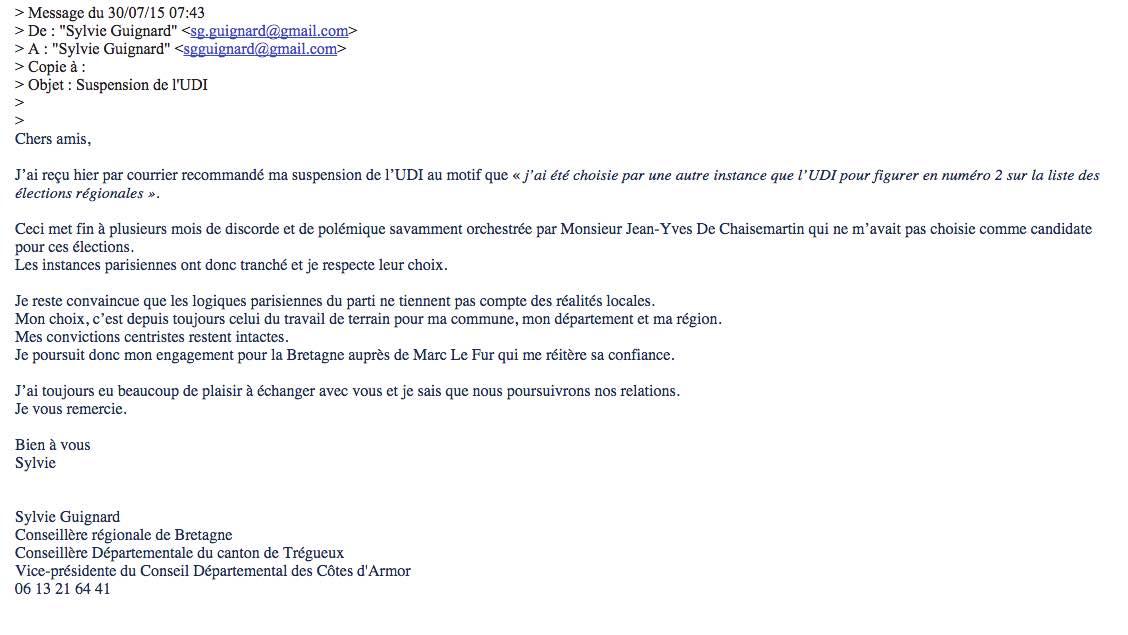 Saint-brieuc. Sylvie Guignard suspendue de l'UDI. Du rififi sur la liste de Marc Le Fur ?