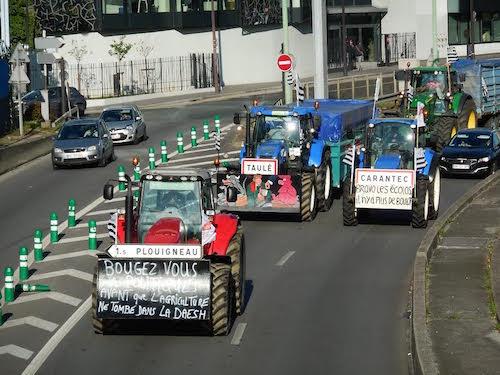 Agriculteurs à Paris .  Xavier Beulin (FNSEA) et Manuel Valls hués par les Bretons