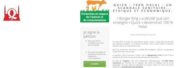 Une pétition nationale contre la généralisation des Quick Halal