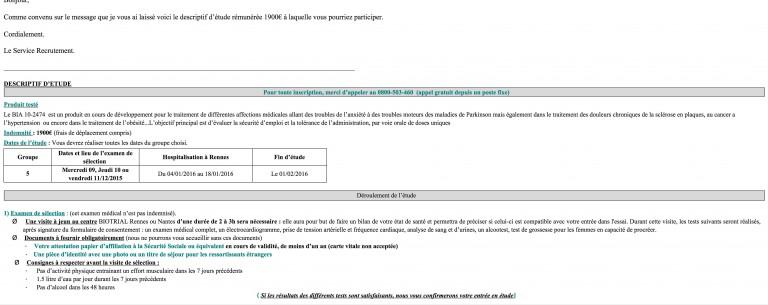 Essai thérapeutique mortel à Biotrial Rennes. Le contenu du test du Bia 10 – 2474 de Bial révélé [exclusif]