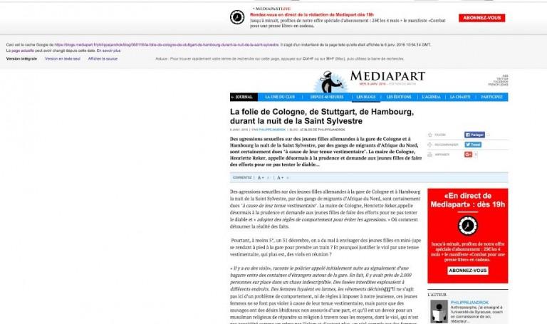 Cologne. L'article que Médiapart a mis en ligne puis censuré