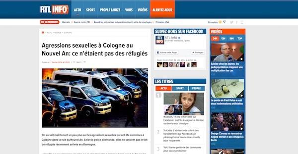 Cologne – Bobards d'or. Pour RTL.be, les agresseurs sexuels n'étaient pas des réfugiés
