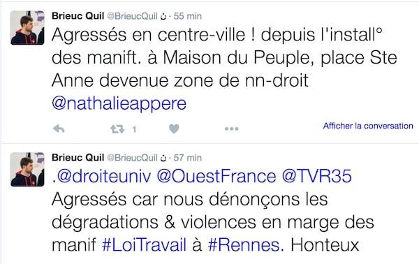 Rennes. Les responsables de l'UNI tabassés place Sainte-Anne par l'extrême-gauche