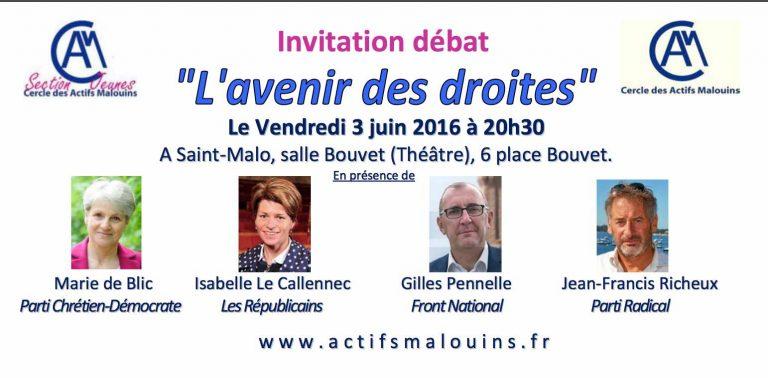 Saint-Malo. Un grand débat sur l'avenir des droites, le 3 juin prochain