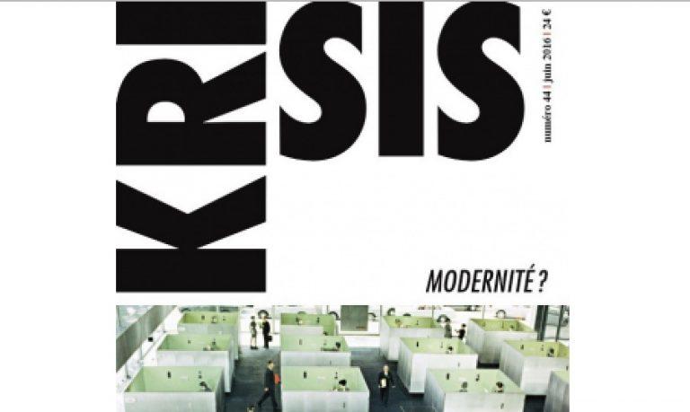Sortie du n°44 de la revue Krisis, sur le thème de la modernité