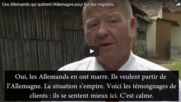 Ces Allemands qui quittent l'Allemagne pour fuir les migrants [vidéo]
