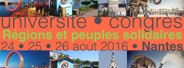 Nantes. Régions et peuples solidaires en université d'été du 23 au 26 août