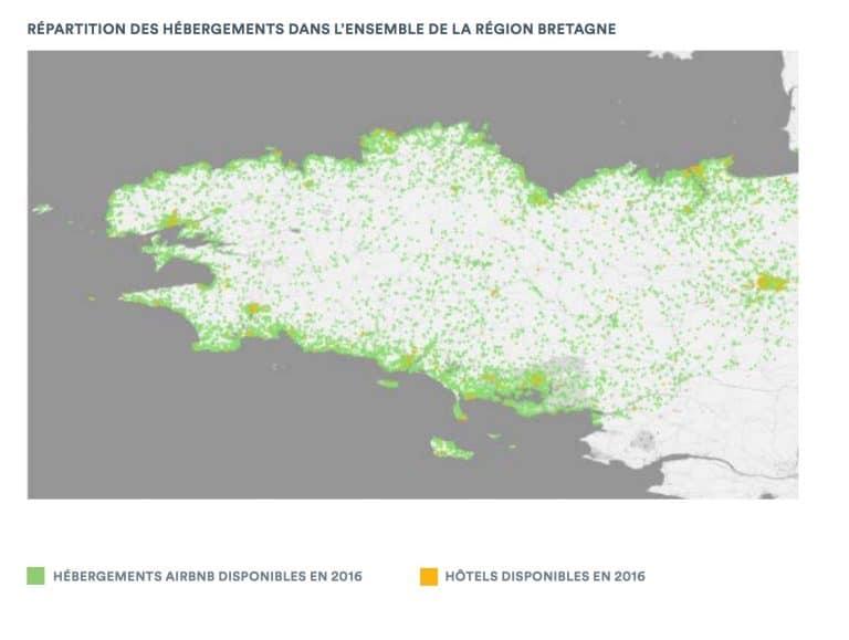 Bretagne administrative : plus de 400 000 voyageurs accueillis sur 12 mois avec Airbnb