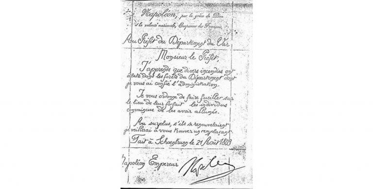Napoléon et les incendiaires du Var : un faux document