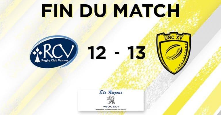 Rugby. Le RC Vannes sombre à domicile contre Carcassonne (12-13)