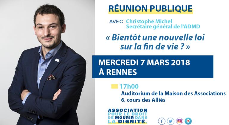 Rennes. Christophe Michel défendra suicide assisté et euthanasie le 7 mars