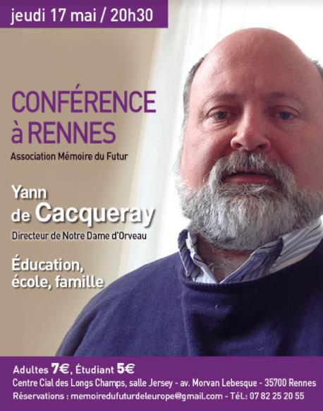 Rennes. Une conférence sur l'éducation, l'école, la famille