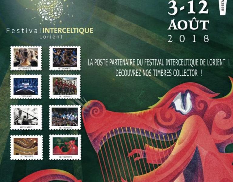 Les timbres spécial festival Interceltique 2018 sont disponibles !
