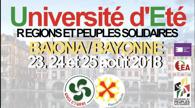 Régions et Peuples solidaires prépare son université d'été