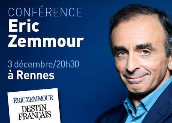 Rennes. Eric Zemmour en conférence lundi 3 décembre
