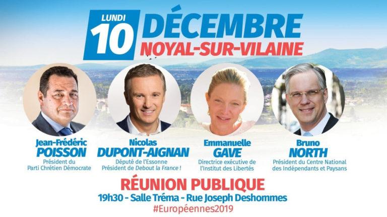 Les Amoureux de la France. Dupont-Aignan et Poisson en meeting à Rennes le 10 décembre