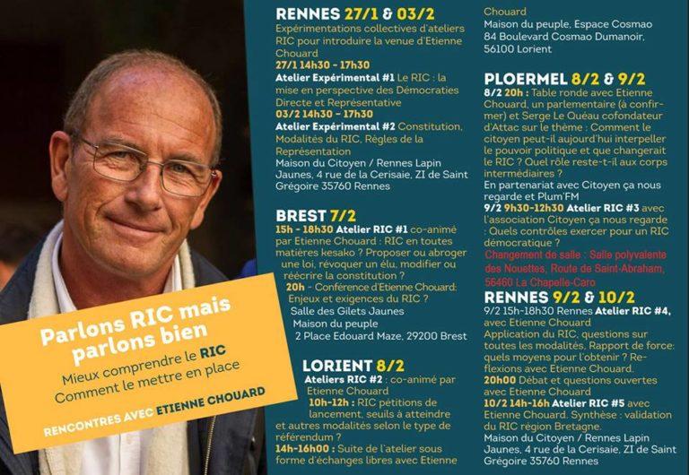 Ploërmel, Rennes, Brest, Lorient : Etienne Chouard lance un tour de Bretagne pour le RIC