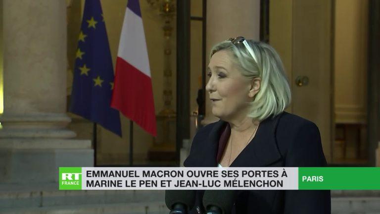 Après leur rencontre avec E. Macron : les réactions de Jean-Luc Mélenchon et de Marine Le Pen [Vidéo]