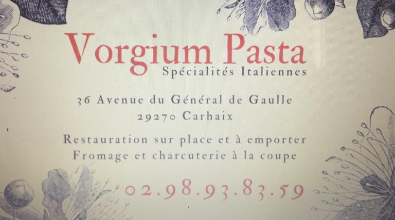 Carhaix. Vorgium Pasta, l'Italie dans vos assiettes, sur place ou à emporter !