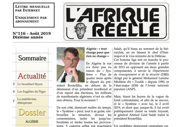 Algérie : « tout change pour que rien ne change ». Le 116ème numéro de l'Afrique réelle est sorti