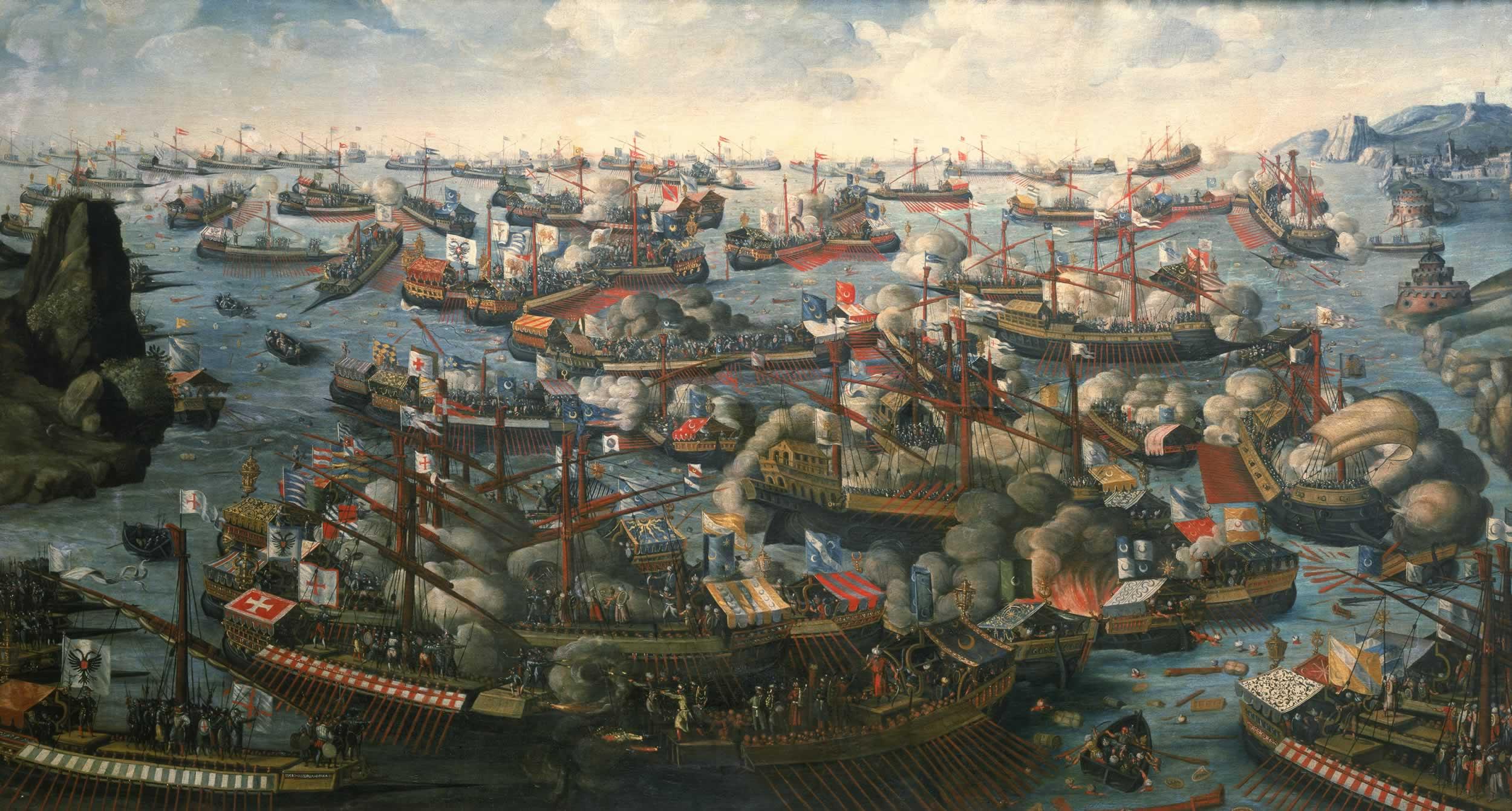 La bataille de Lépante du 7 octobre 1571, artiste inconnu, tableau du XVIe siècle.