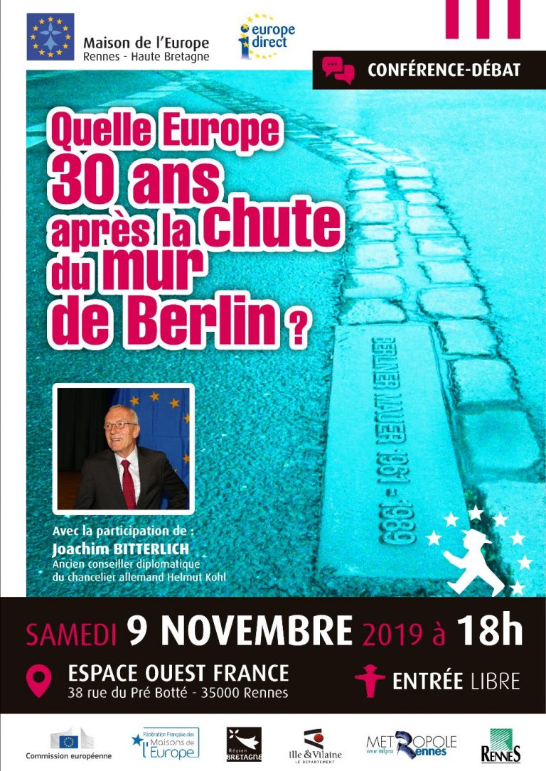 Conférence à Rennes. Quelle Europe 30 ans après la chute du Mur de Berlin ?