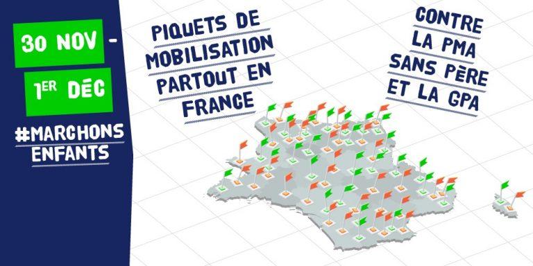 2 jours de mobilisation en France contre la PMA sans père et la GPA