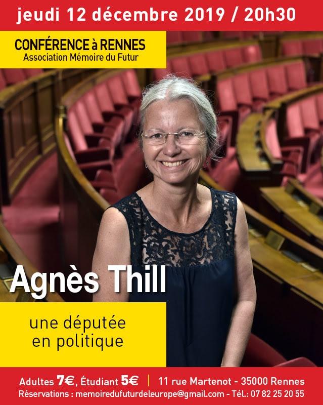 Une députée en politique. Agnès Thill en conférence à Rennes le 12 décembre