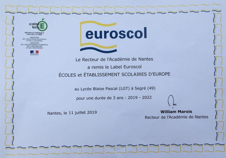 Connaissez vous Euroscol, le label européen des établissements scolaires ?