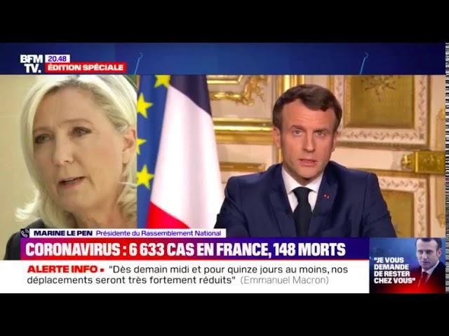 Marine Le Pen réagit au discours d'Emmanuel Macron qui a déclaré : « Nous sommes en guerre »