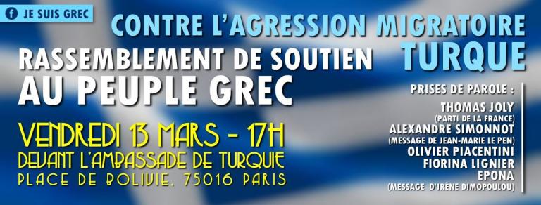 Paris. #Jesuisgrec : un rassemblement contre l'agression migratoire turque, ce vendredi 13 mars