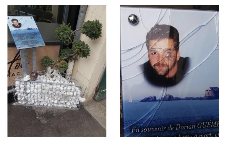 La plaque en hommage à Dorian Guéméné, mort roué de coups,, vandalisée deux fois. Cinq des six suspects en liberté provisoire