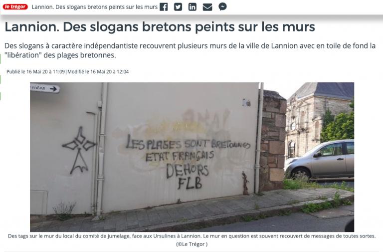 « Les plages sont bretonnes, Etat français dehors ». Des tags signés FLB à Lannion