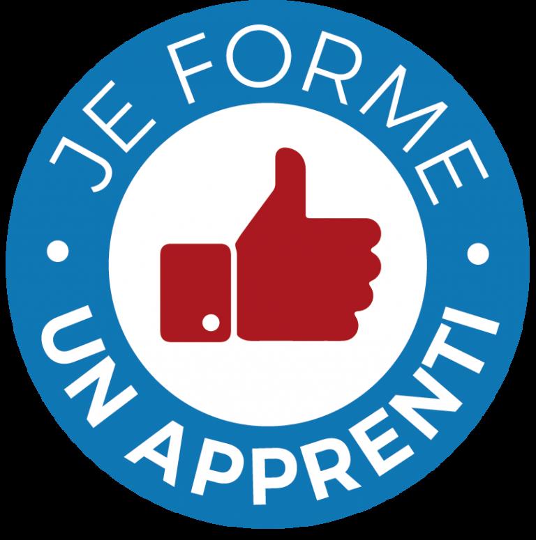 « Ici je forme un apprenti » : un petit macaron pour mettre en valeur l'apprentissage dans l'artisanat.