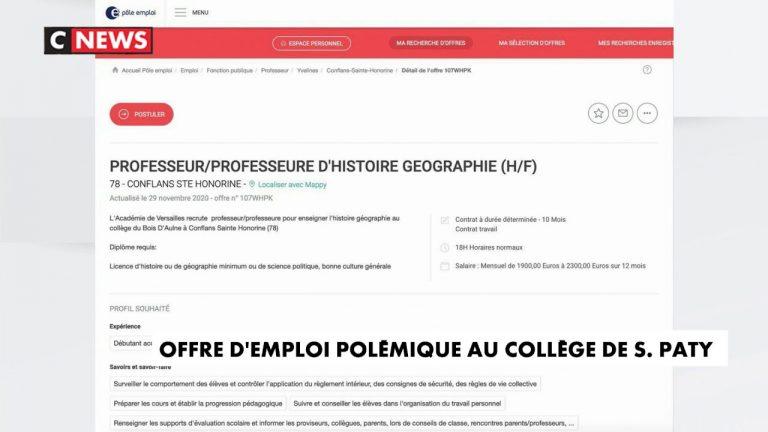 Samuel Paty : polémique après la publication d'une offre d'emploi dans le collège de l'enseignant