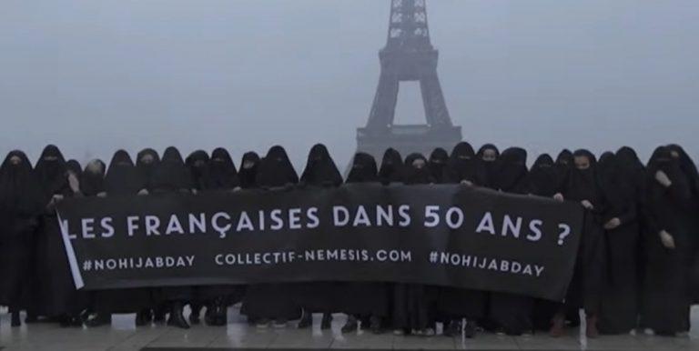 Paris. Au Trocadéro, les féministes de Némesis manifestent contre l'islamisme et le Hijab Day