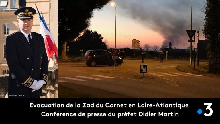 Évacuation en cours de la Zad du Carnet en Loire-Atlantique : conférence de presse du préfet