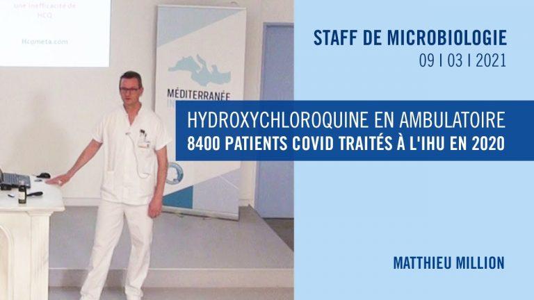 Hydroxychloroquine en ambulatoire : 8400 patients COVID traités à l'IHU Marseille en 2020