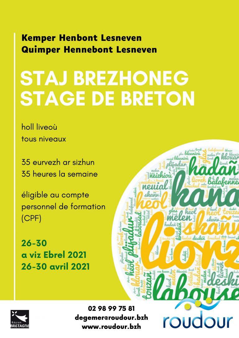 Apprendre le Breton pendant les vacances. Trois stages avec Roudour du 26 au 30 avril.