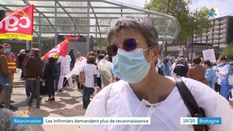 Rennes. Manifestation des personnels de service de réanimation en grève.
