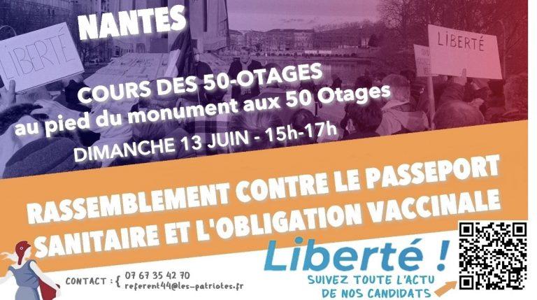 Rassemblement contre la Pass sanitaire, dimanche à Nantes