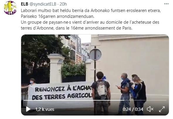 Occupation d'Arbonne: les agriculteurs basques s'invitent chez la propriétaire parisienne