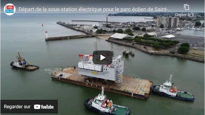 Parc éolien de Saint-Nazaire : La sous-station et sa fondation quittent le port